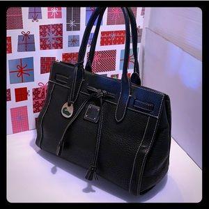 VTG Dooney&Bourke Black Leather Tussel Satchel Bag